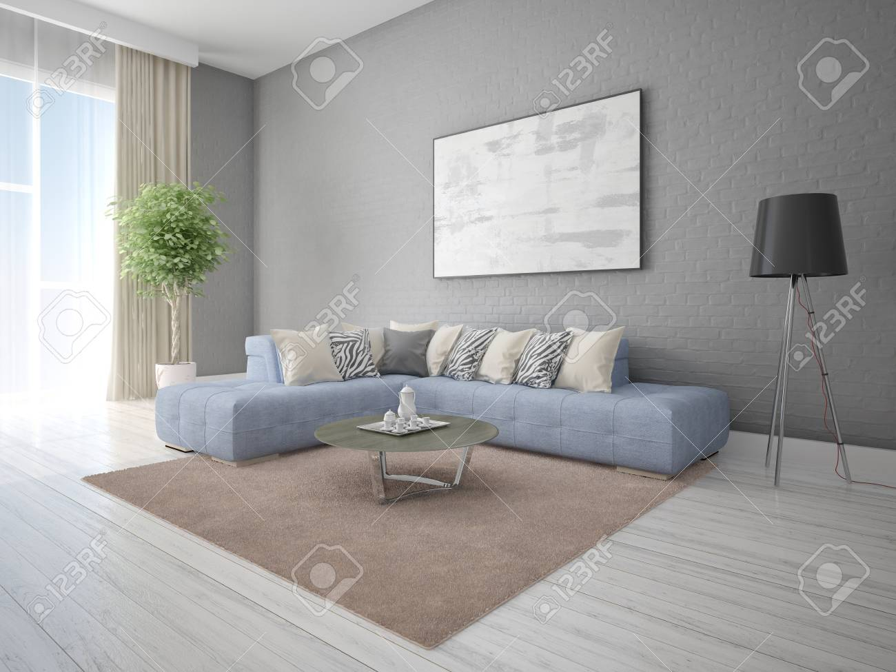Mock up modern living room with large corner sofa and extravagant..