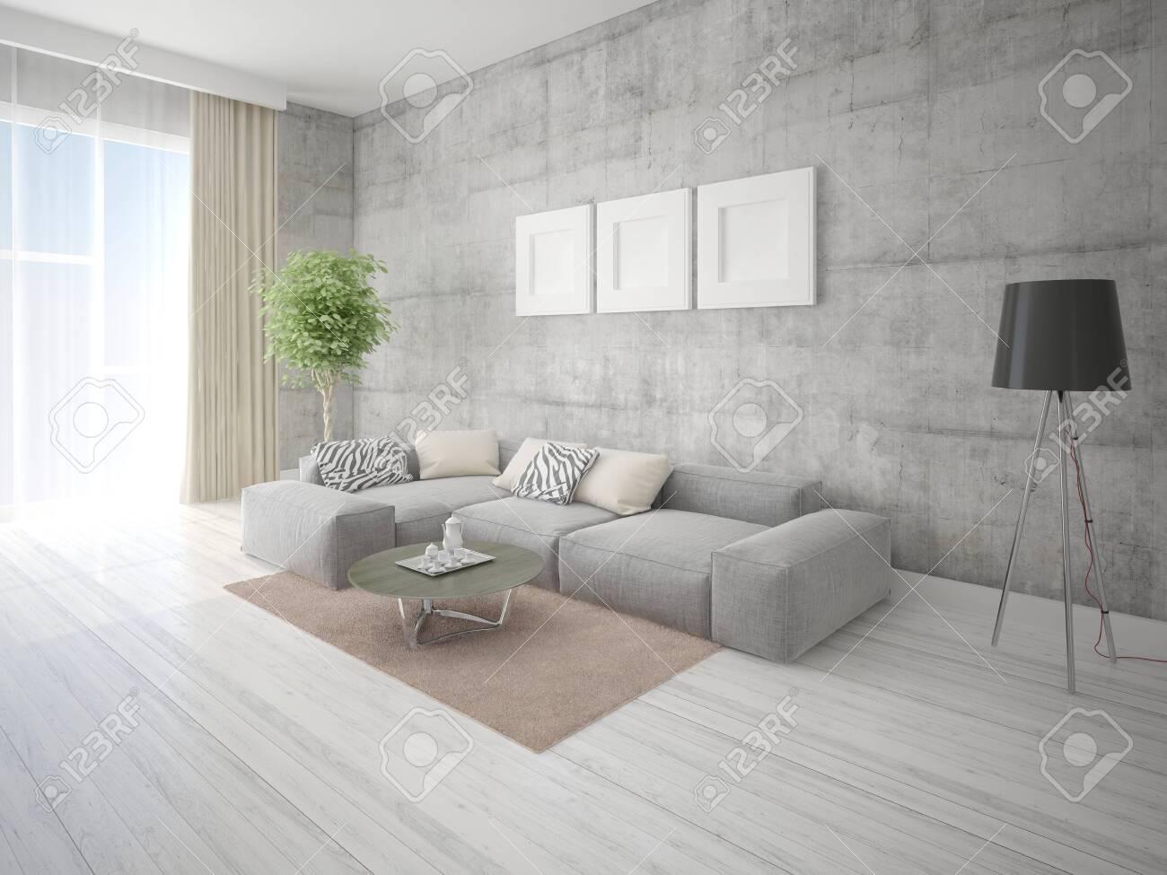 Mock up fashionable living room with large corner sofa and stylish..