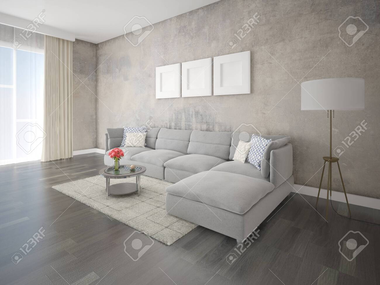 Mock up a spacious living room with a large corner sofa and an..