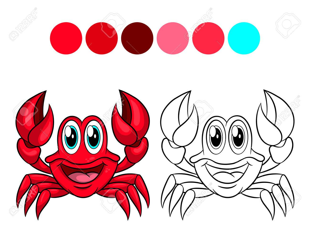 Crab. Coloring Book Design For Kids And Children. Vector ...