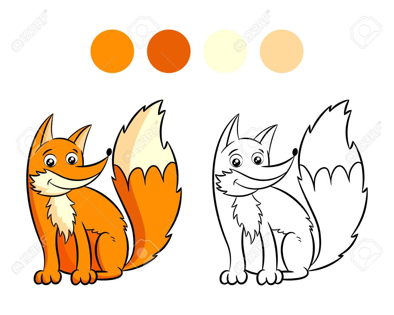 Fox. Coloring Book Design For Kids And Children. Vector Illustration ...
