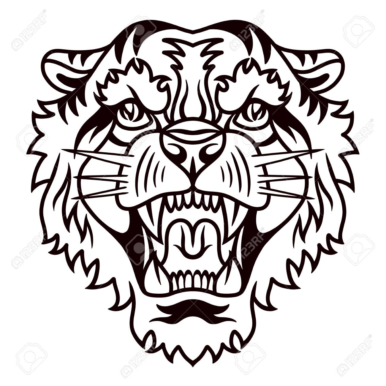 Tiger old school hand drawn retro style. Design element for poster, card, banner. Vector illustration. - 133801254
