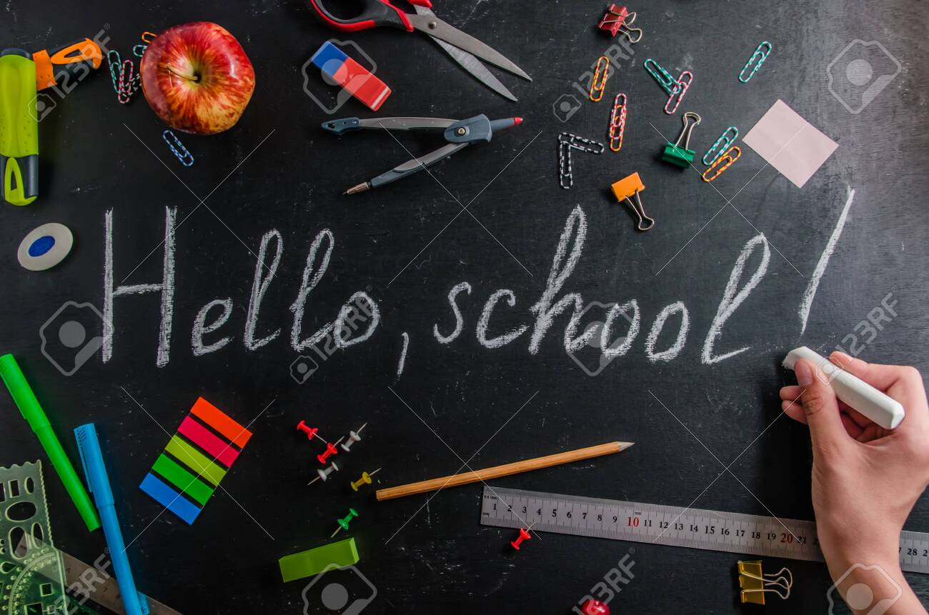 back to school on September 1 stationery on a black background with copy space - 129145937