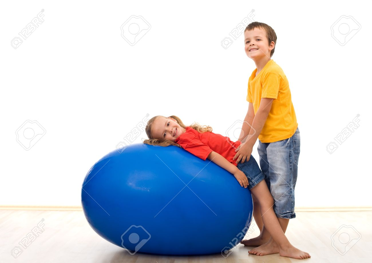 gymnastic kids Kids playing with gymnastic rubber ball Stock Photo - 7857141
