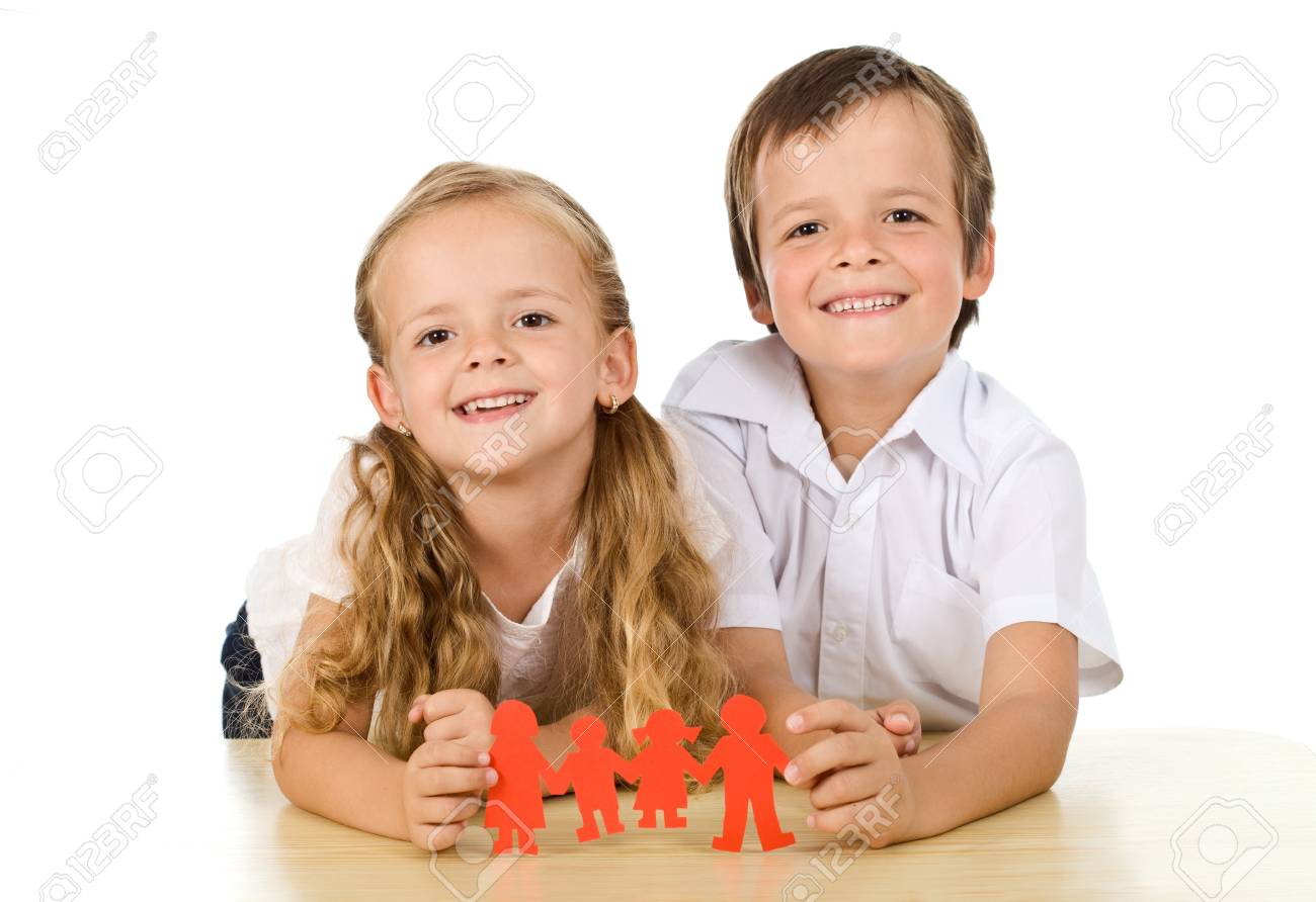 Happy family concept with kids holding paper people - isolated Stock Photo - 9824193