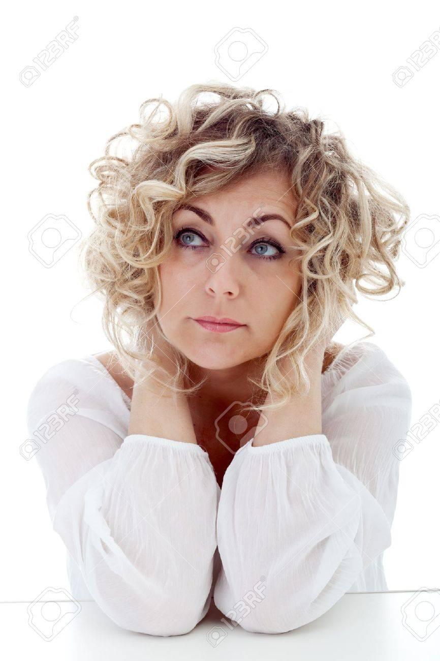 Mature woman thinking - closeup portrait Stock Photo - 12478084