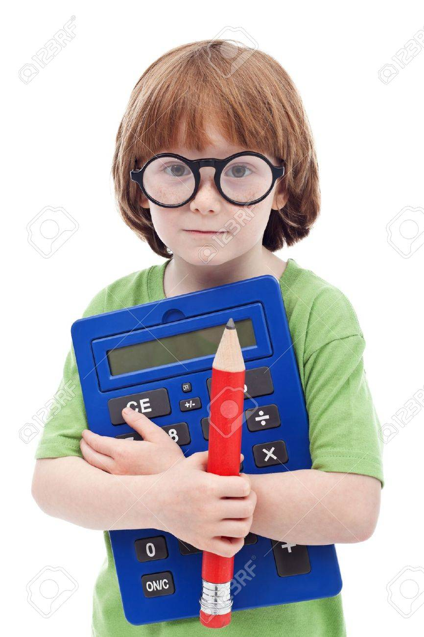 Boy genius concept - child with large glasses, pencil and calculator Stock Photo - 13629416