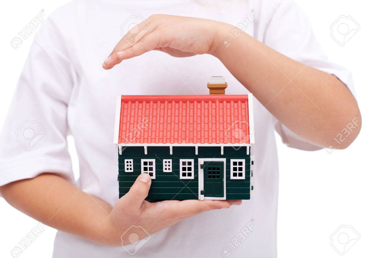 Protecting My Home Child Hands Shielding Small House Insurance