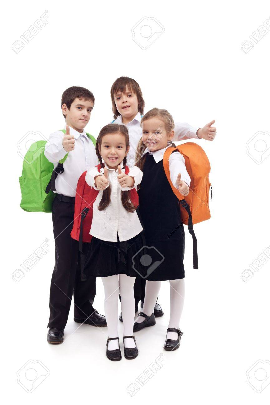 Happy elementary school kids group with thumbs up - isolated - 18162505