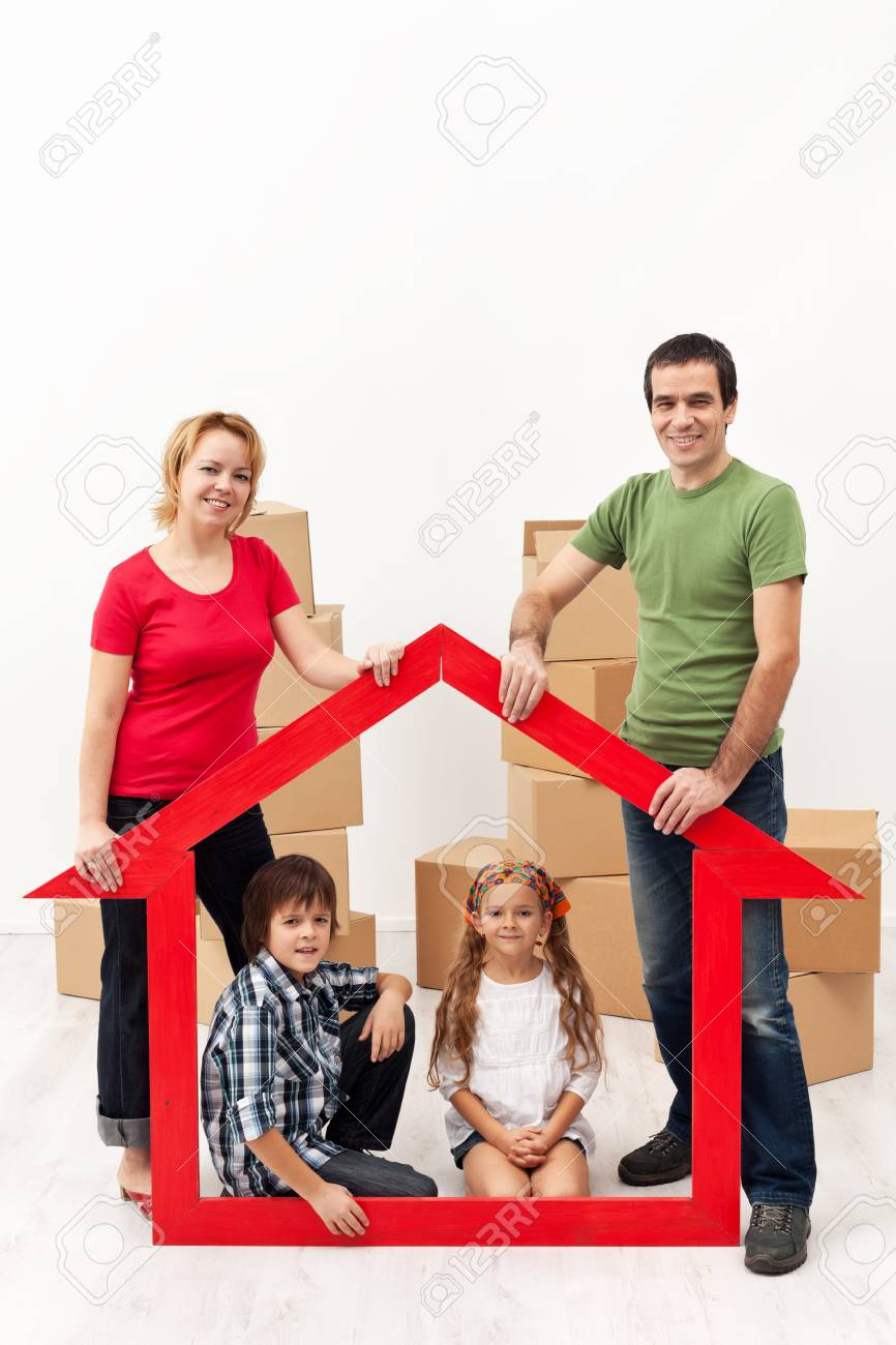 Family with two kids buying a new home concept - 18494334