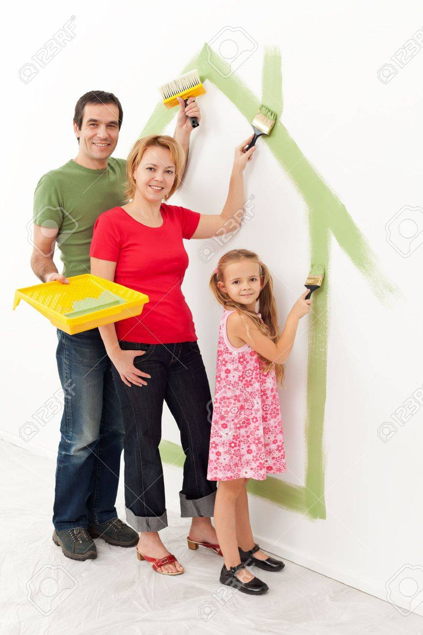 Family in their new house - making it a cozy home together concept - 18494346