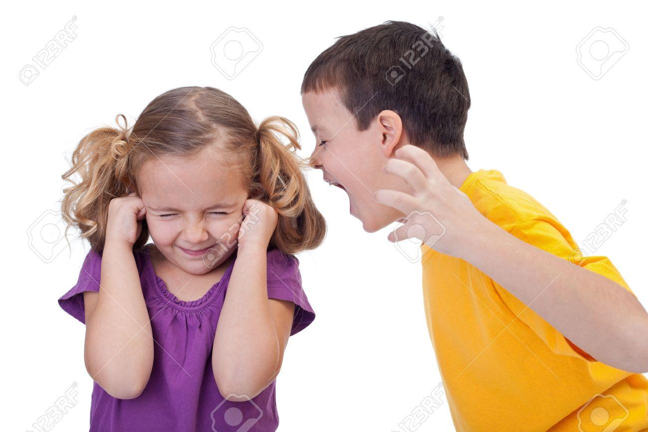 boy shouting to girl - 19968973