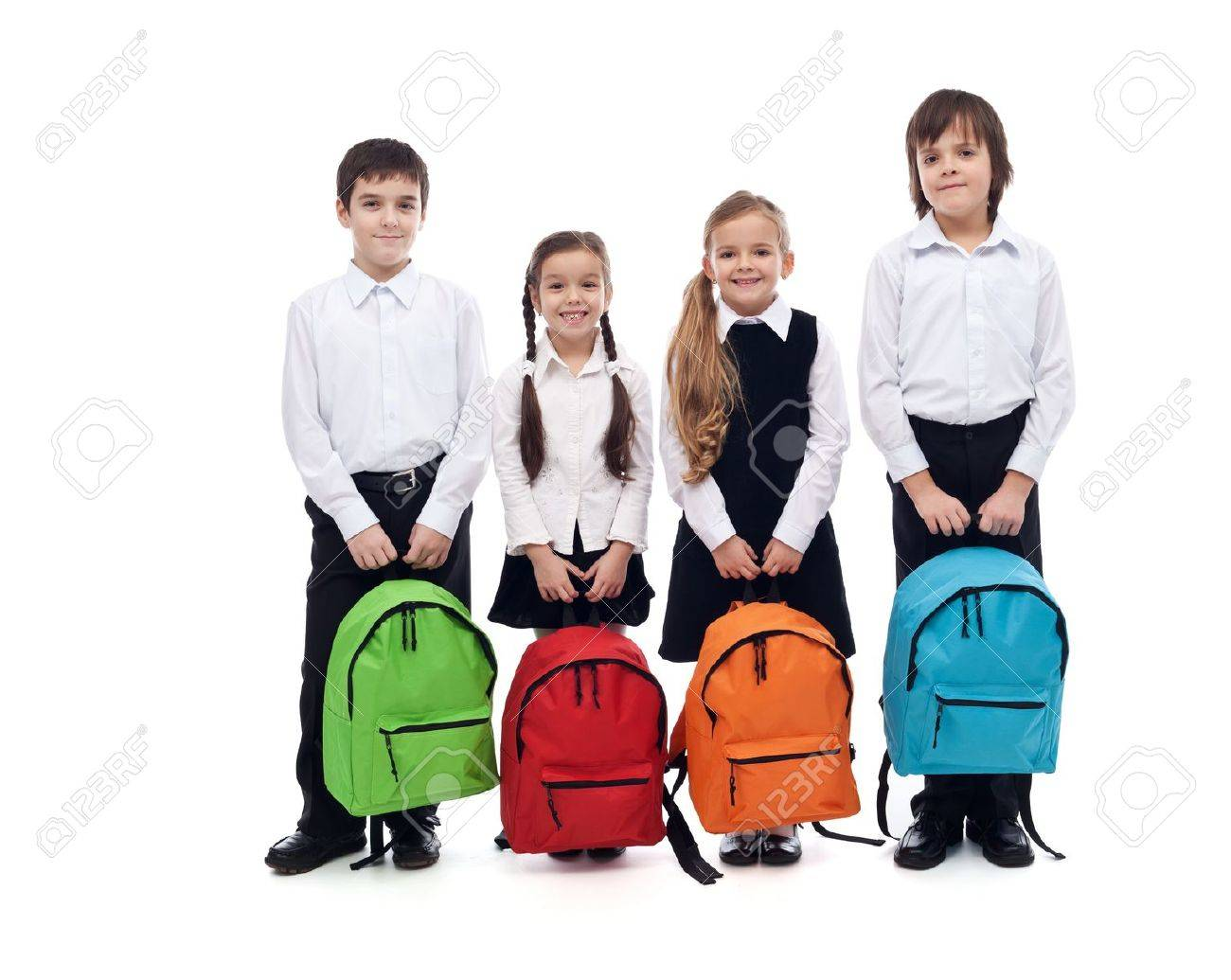Group of happy kids with schoolbags - back to school concept, isolated - 21140128