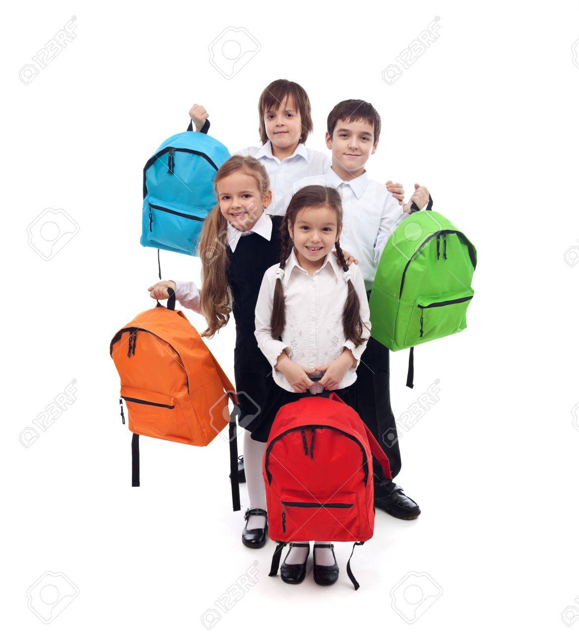 Group of happy kids with colorful school bags - back to school concept - 21140131