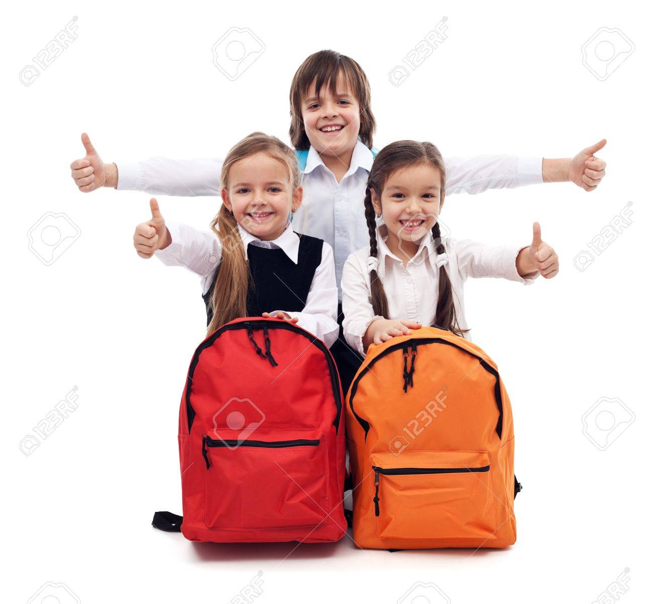 Back to school concept with happy kids giving thumbs up sign - isolated - 21450634