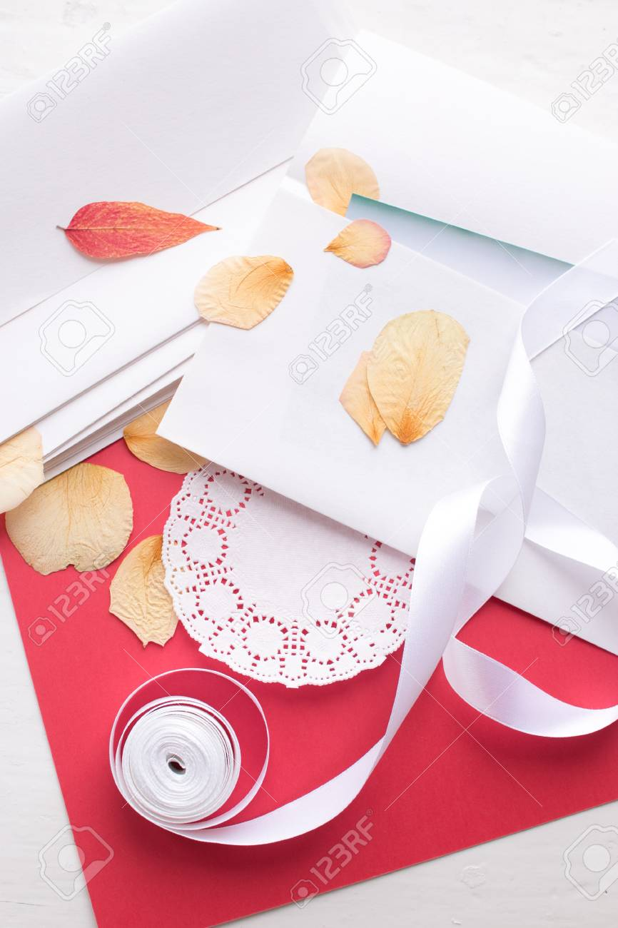 St Valentine S Day The Dried Petals Of Roses And Paper Envelopes