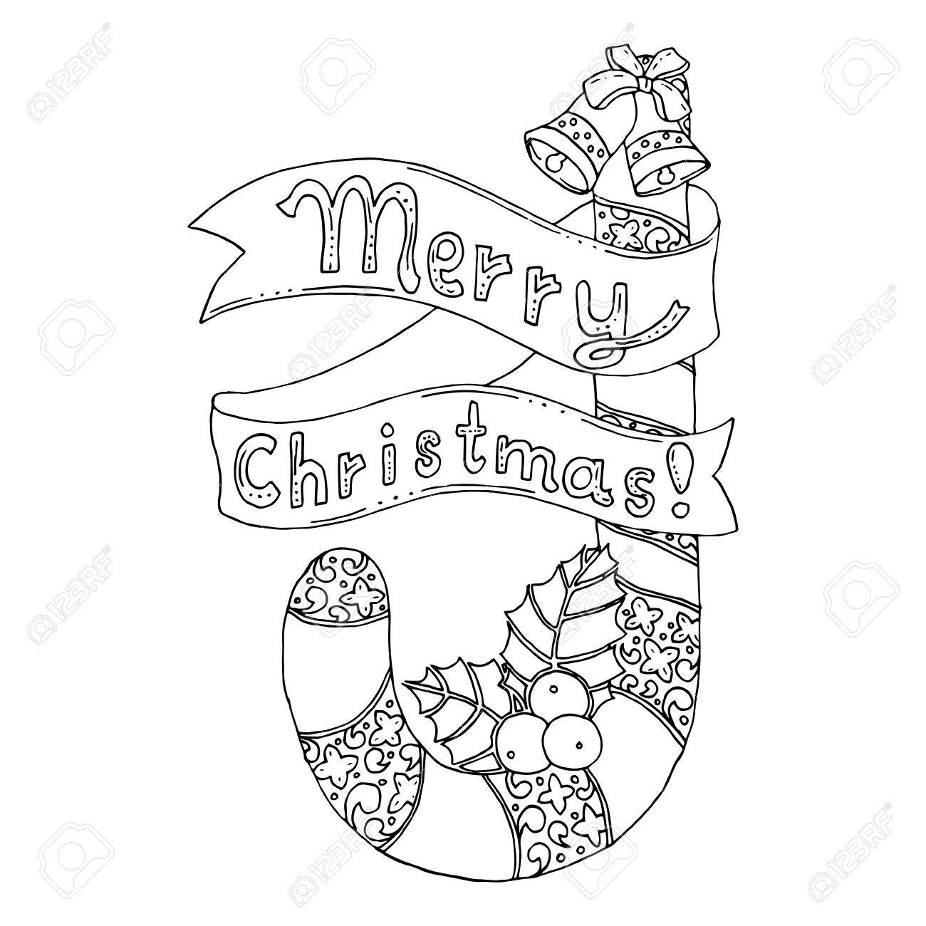 Negro Ilustración Vectorial De Color Mono De Feliz Navidad Y Feliz ...