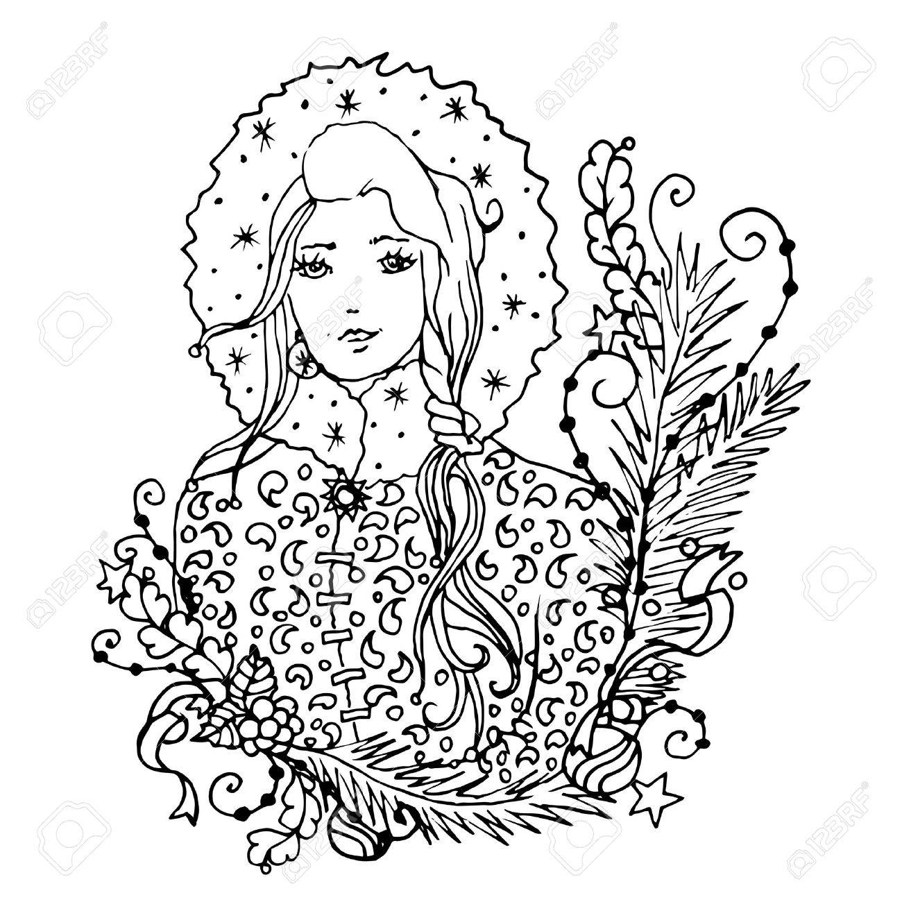 Coloring pictures merry christmas - Black Vector Mono Color Illustration With Snow Maiden Lady For Merry Christmas And Happy New Year
