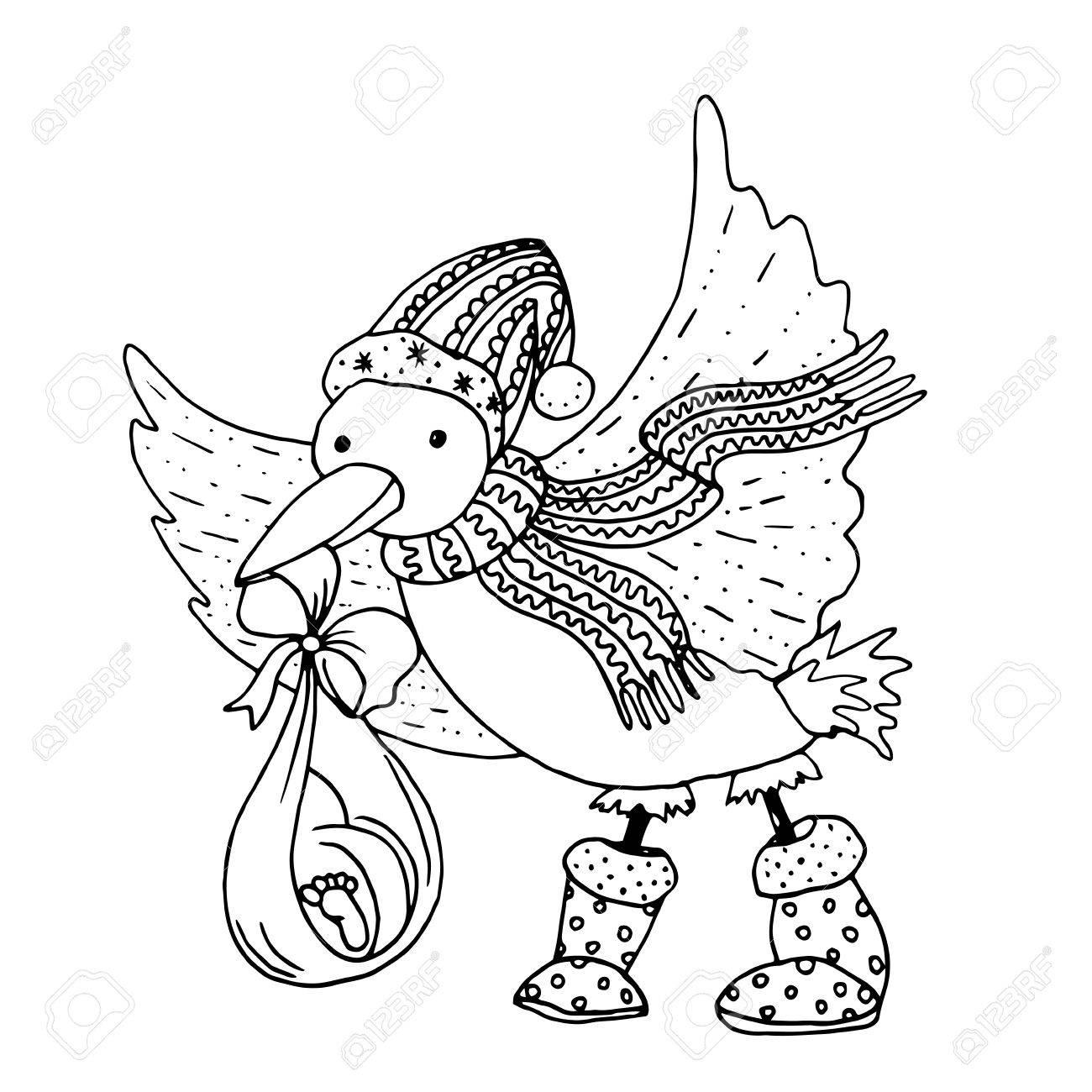 Negro Ilustración Vectorial De Color Mono Con El Pájaro Con La ...