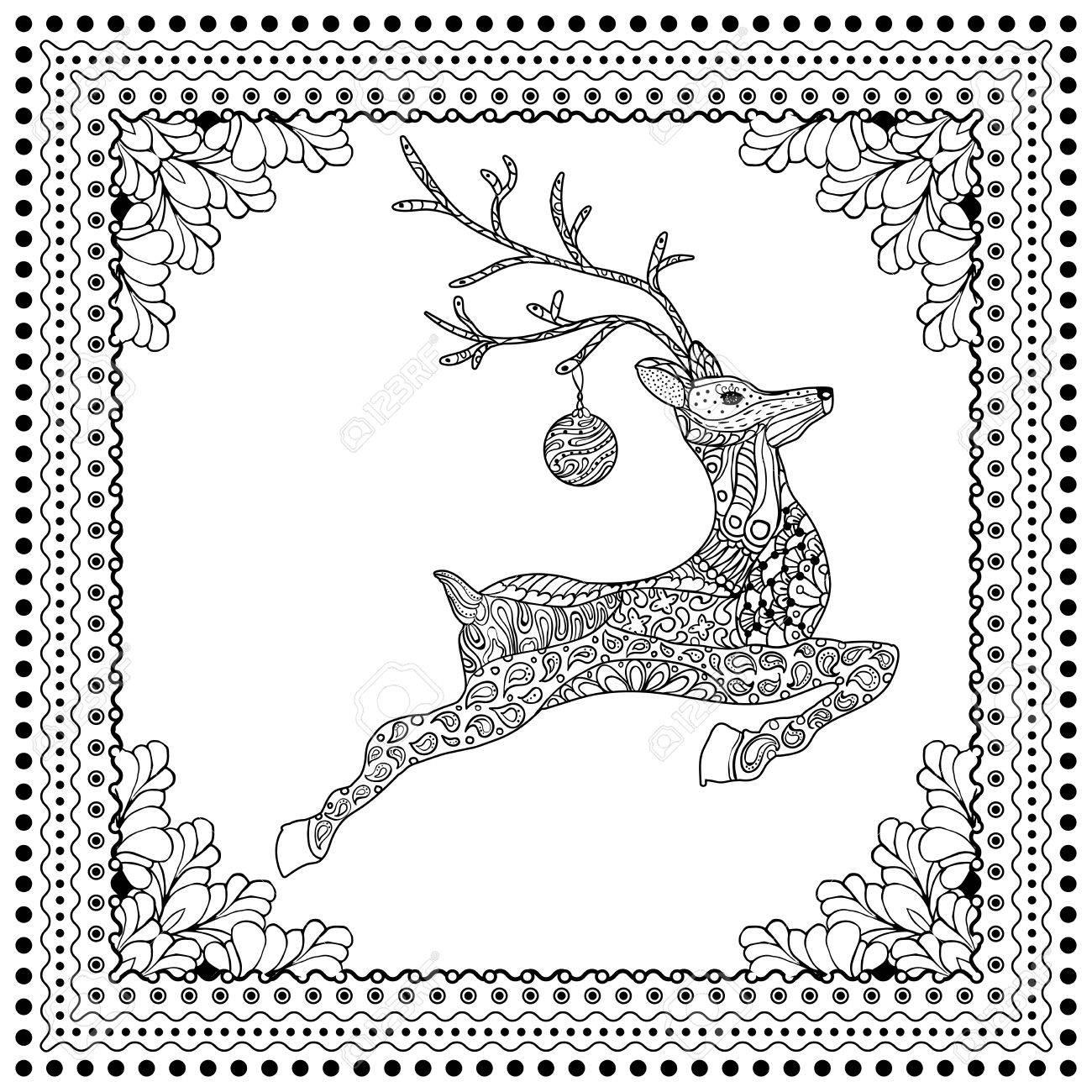 Vector Dibujado A Mano Ilustración De Ciervo Saltando Silueta Con ...