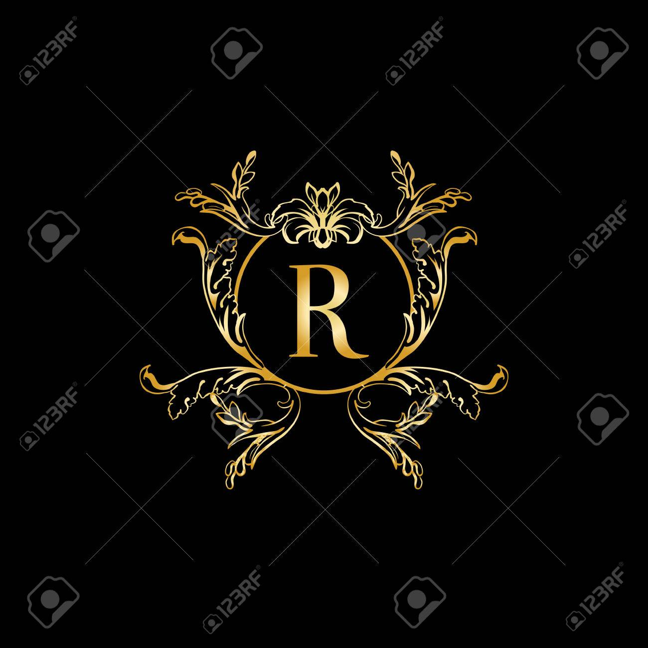stylish and elegant monogram design template with letter r vector