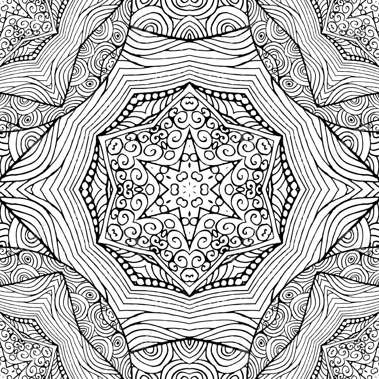Coloring Book Page Design With Pattern Mandala Ethnic Ornament Isolated Vector Illustration In Doodle