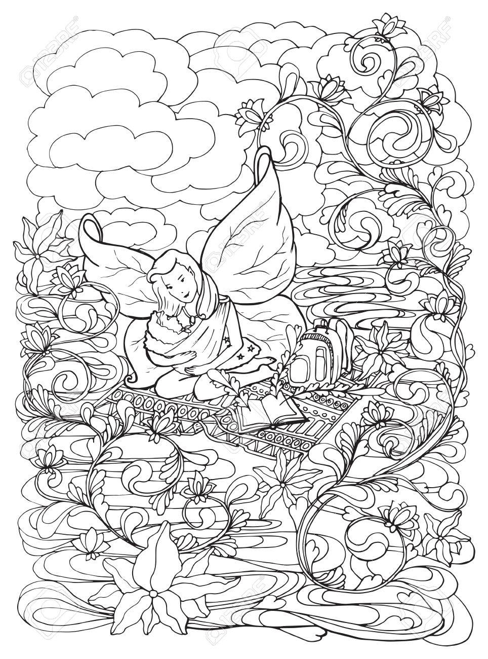 Adult Coloring Book Page With Mother Breast Feeding Her Baby ...