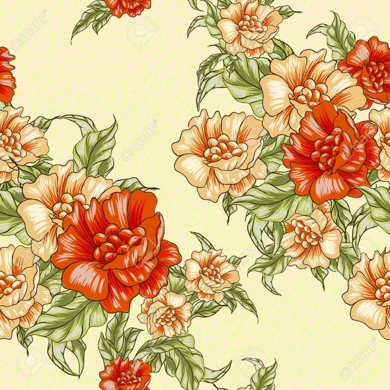 Modele Sans Couture Papier Peint Vintage Avec Des Roses Orange Peut