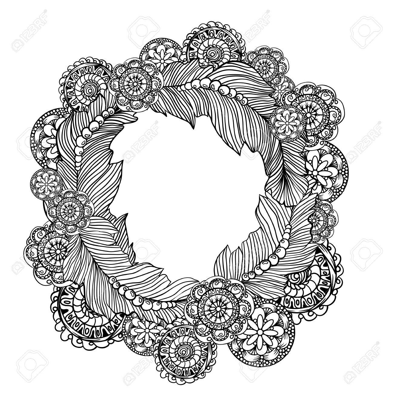 hand drawn circle frame for photo with ste unk technology elements  hand drawn circle frame for photo with ste unk technology elements doodle style design stock vector