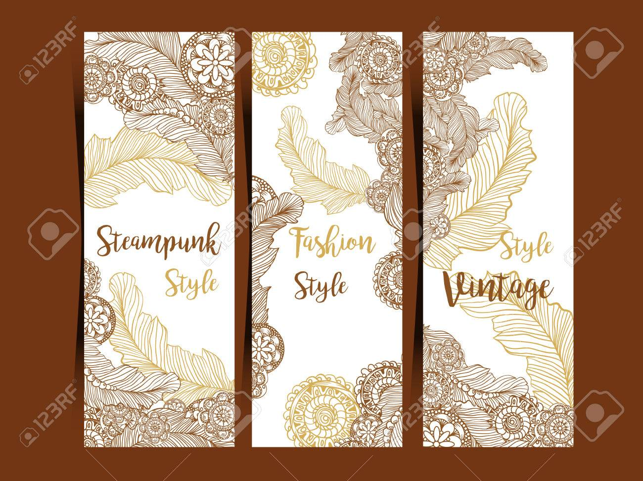 vertical flyers or three fold brochure template with steampunk