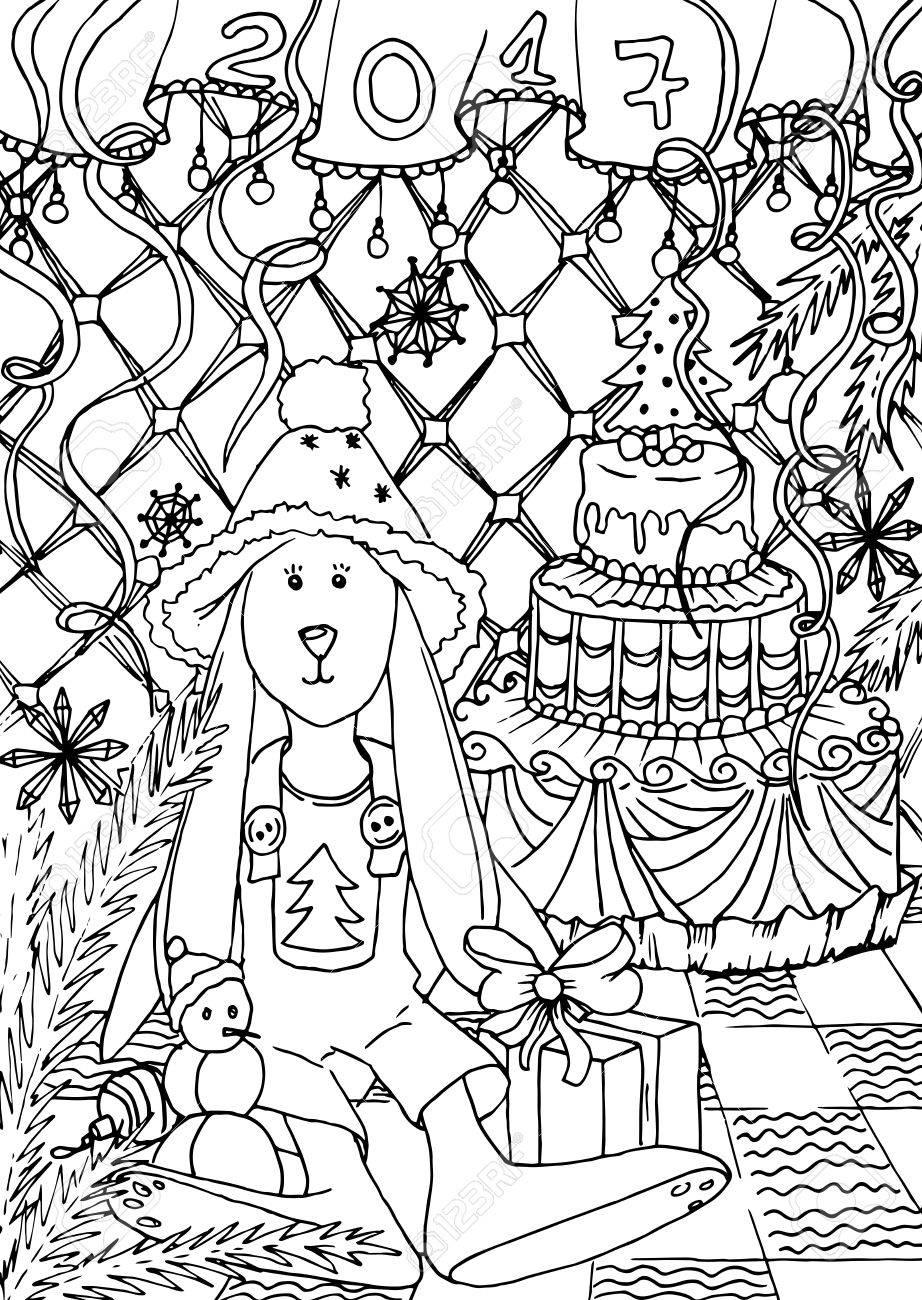 Libro De Colorear Para Adultos. Mono Color De La Tinta Negro, Las ...