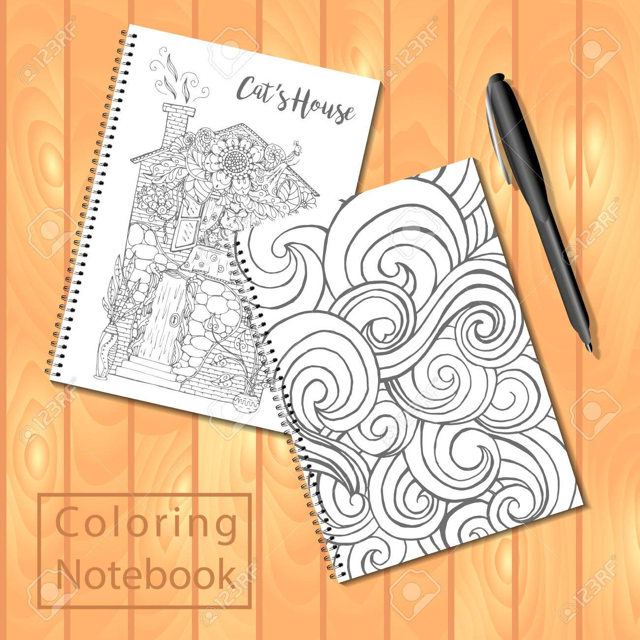 spiral bound notepads or coloring book with pen and coloring pages pictures wavy cover - Coloring Book Paper Stock