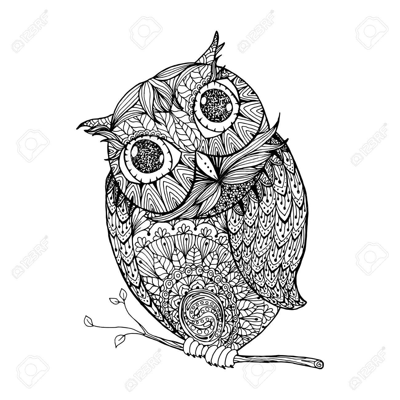 Zentangle Style Owl Isolated Illustration With Ornanets Fill