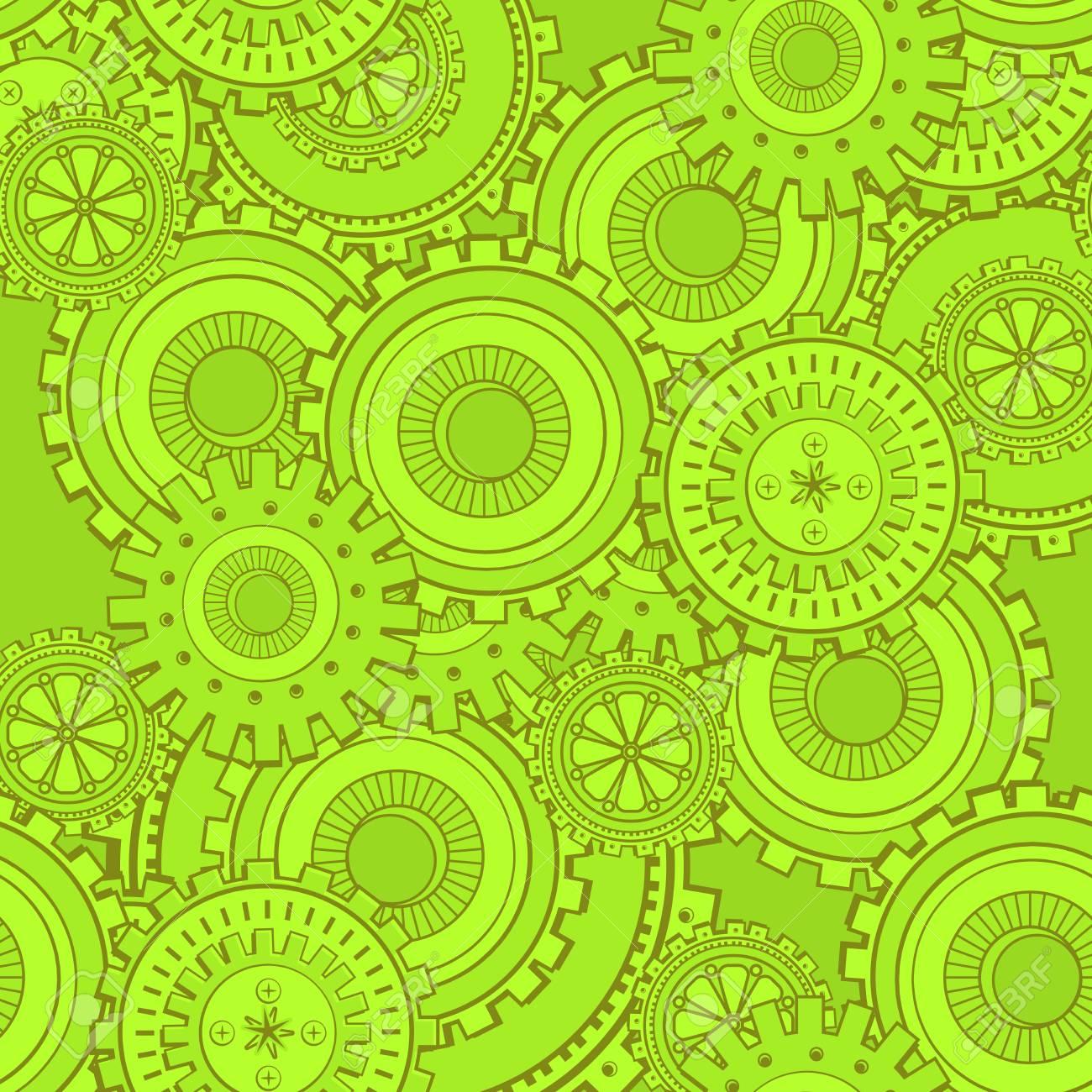 Toile De Fond De La Technologie Des Pignons En Fer Vert Papier