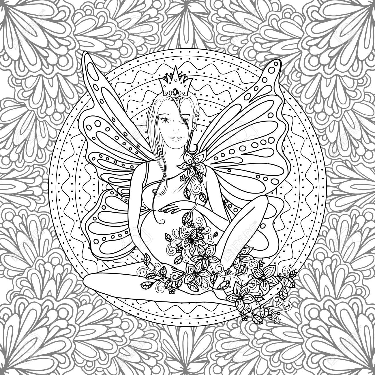 Coloración Adulta Página Del Libro Con La Hada Señora Embarazada Con ...