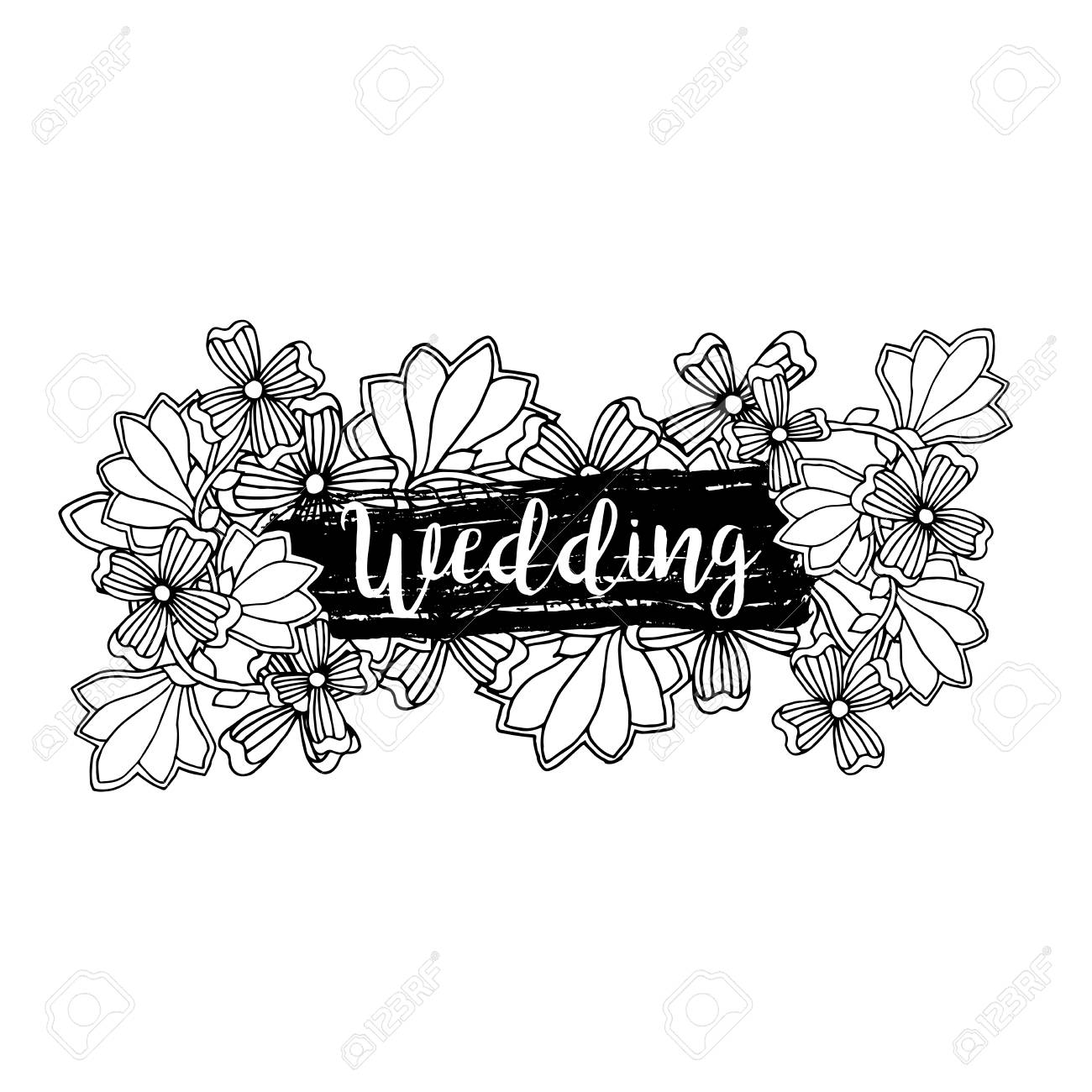 wedding label design with inscription and doodle style floral