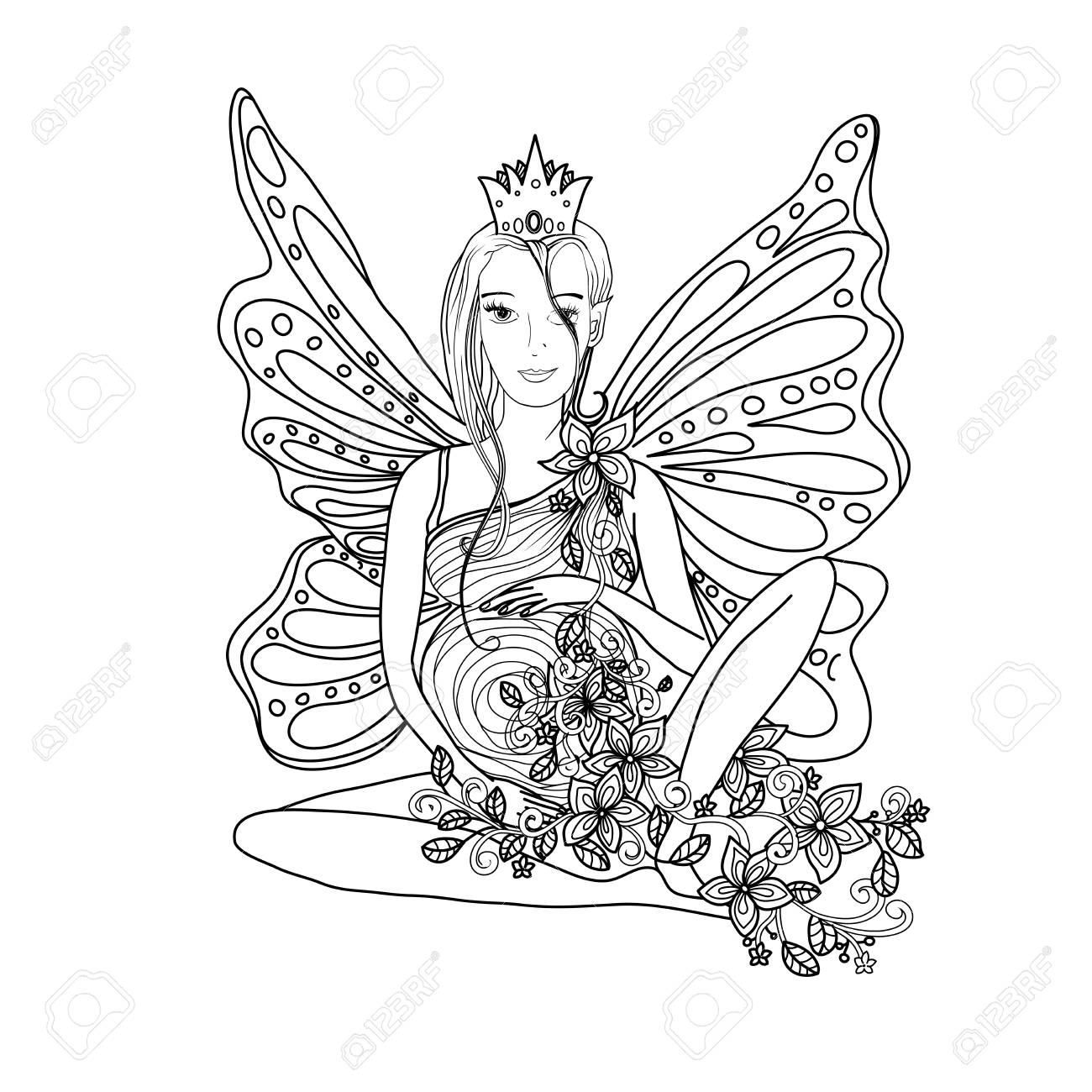 Adult Coloring Book Page With Fairy Pregnant Lady Butterfly Wings Stock Vector