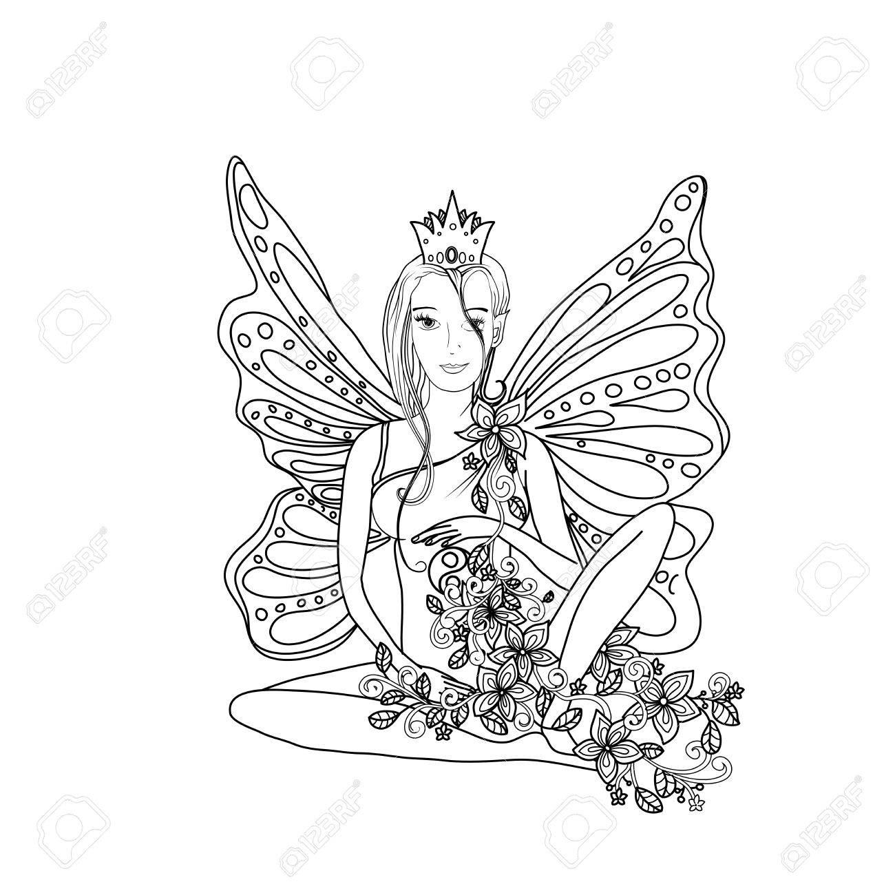 Libro De Colorear Adulto, Sano Señora Hada Con Alas De Mariposa ...
