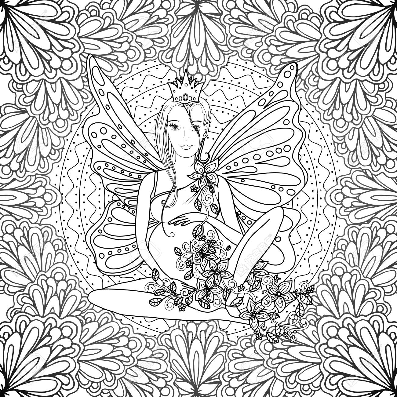 Adult Coloring Book Page With Fairy Pregnant Lady With Butterfly ...