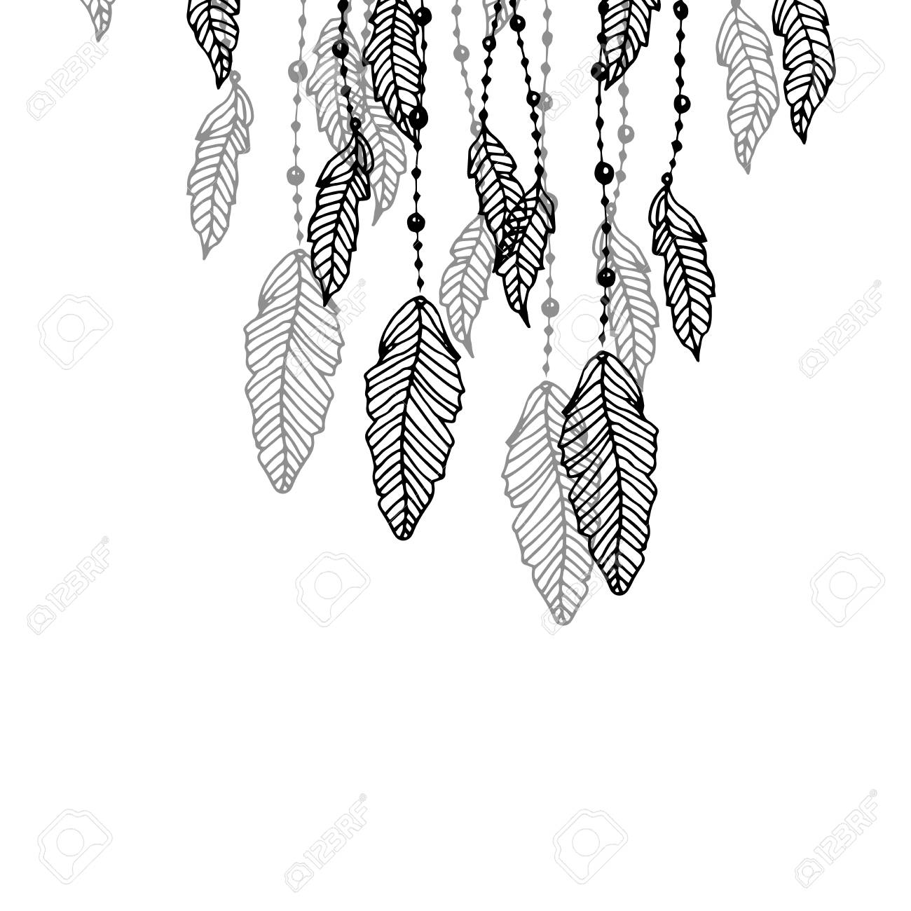 Hanging black and grey stylized doodle feathers isolated on