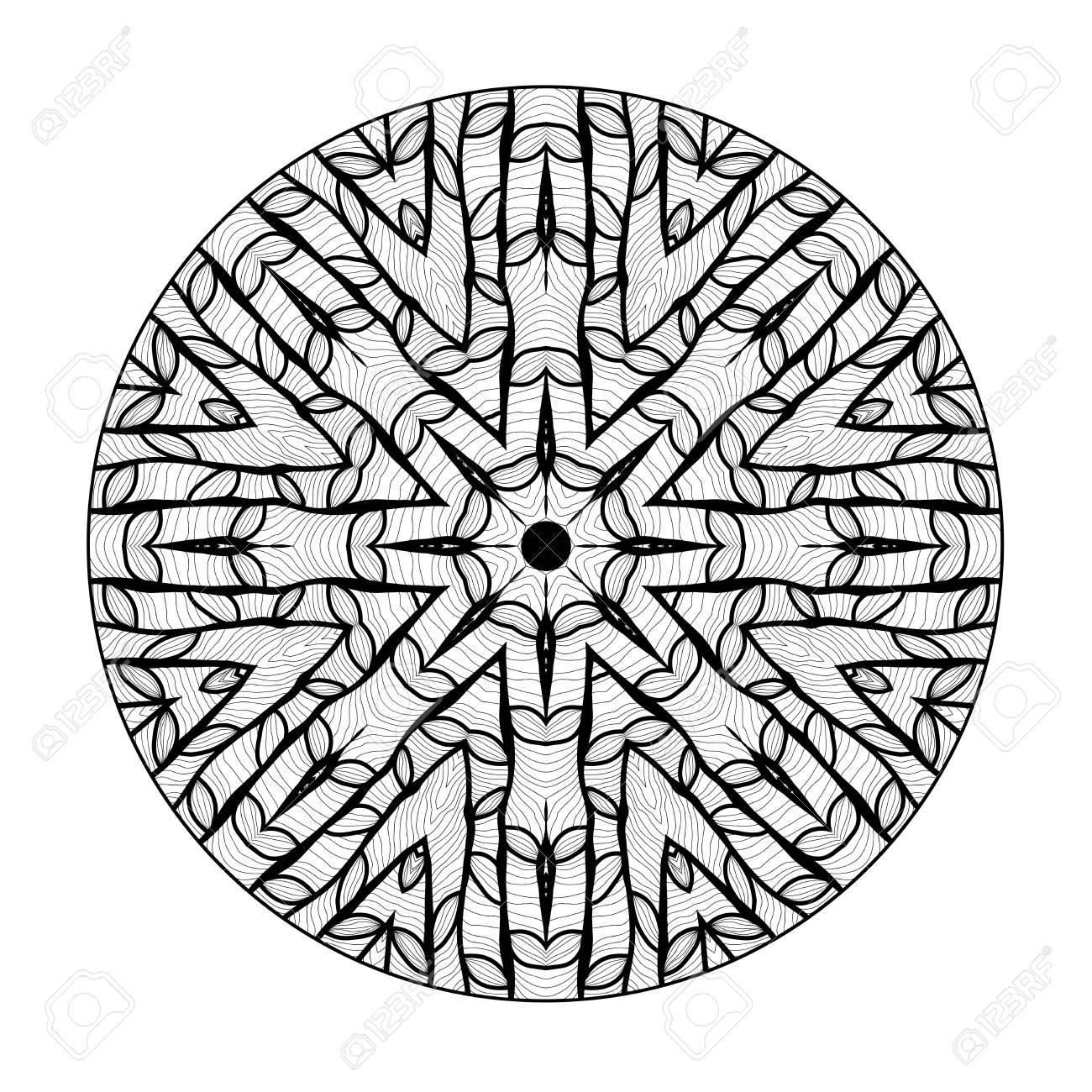 Mandala. Elemento Decorativo Redondo étnico. Dibujado A Mano Patrón ...