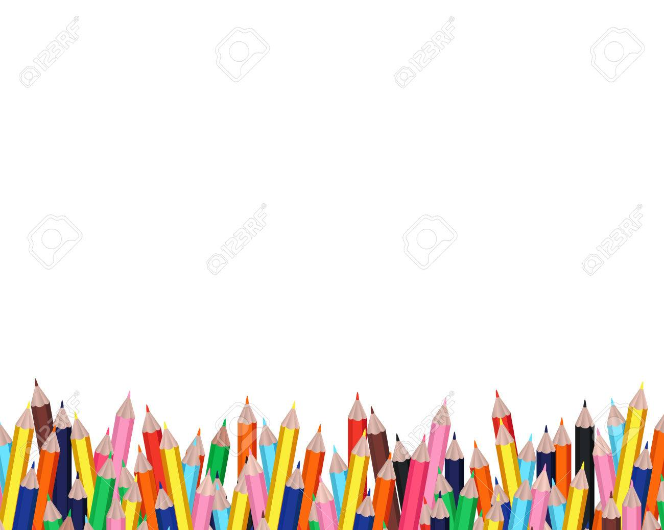 Colorful Pencils Frame With White Background For Education Design ...