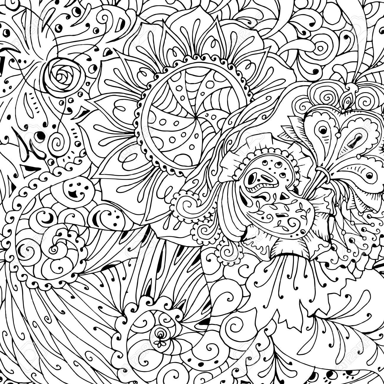 Coloring Book Page Design With Pattern. Mandala Ethnic Ornament ...