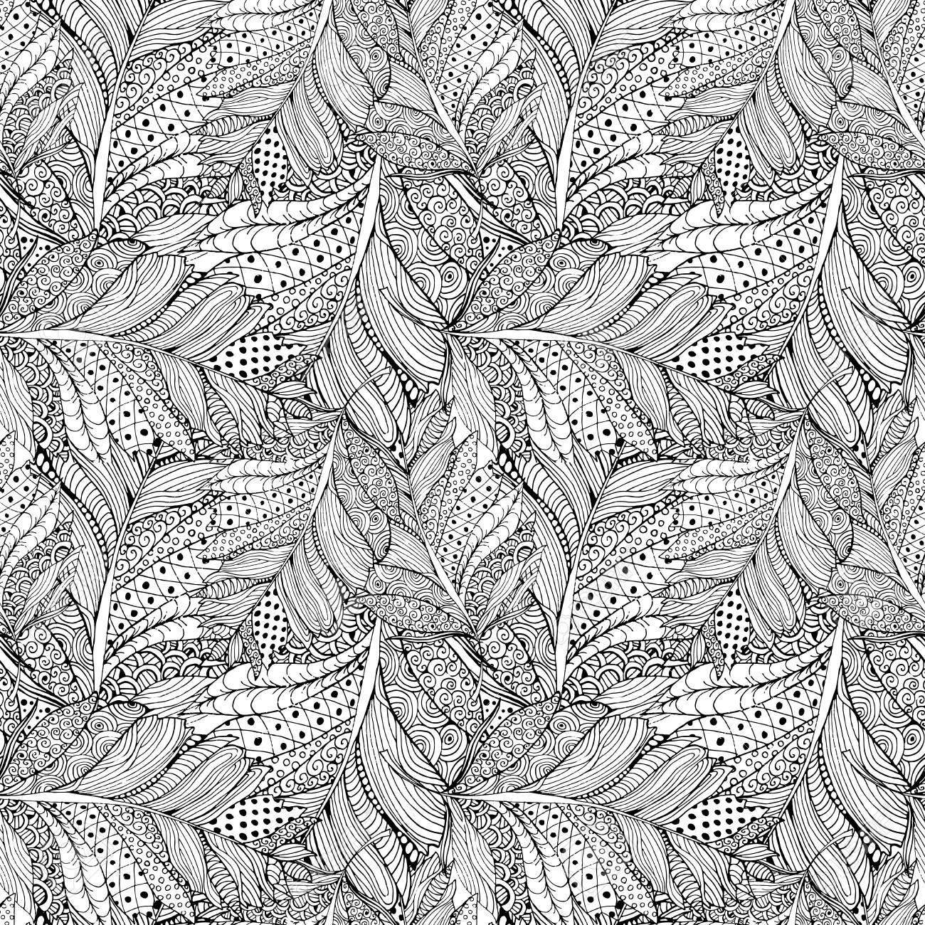 Para Colorear Diseño De Página Del Libro Con El Patrón De La Pluma ...