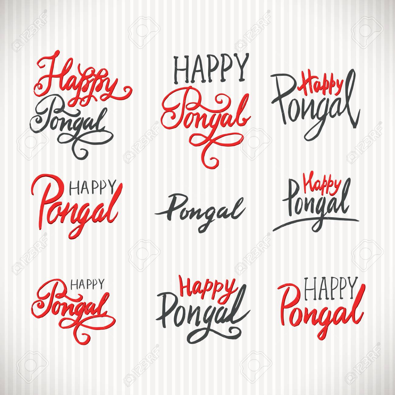 Happy pongal holiday hand written lettering vintage style labels greeting card text templates happy pongal holiday hand written lettering vintage style labels phrases or quotes set kristyandbryce Choice Image
