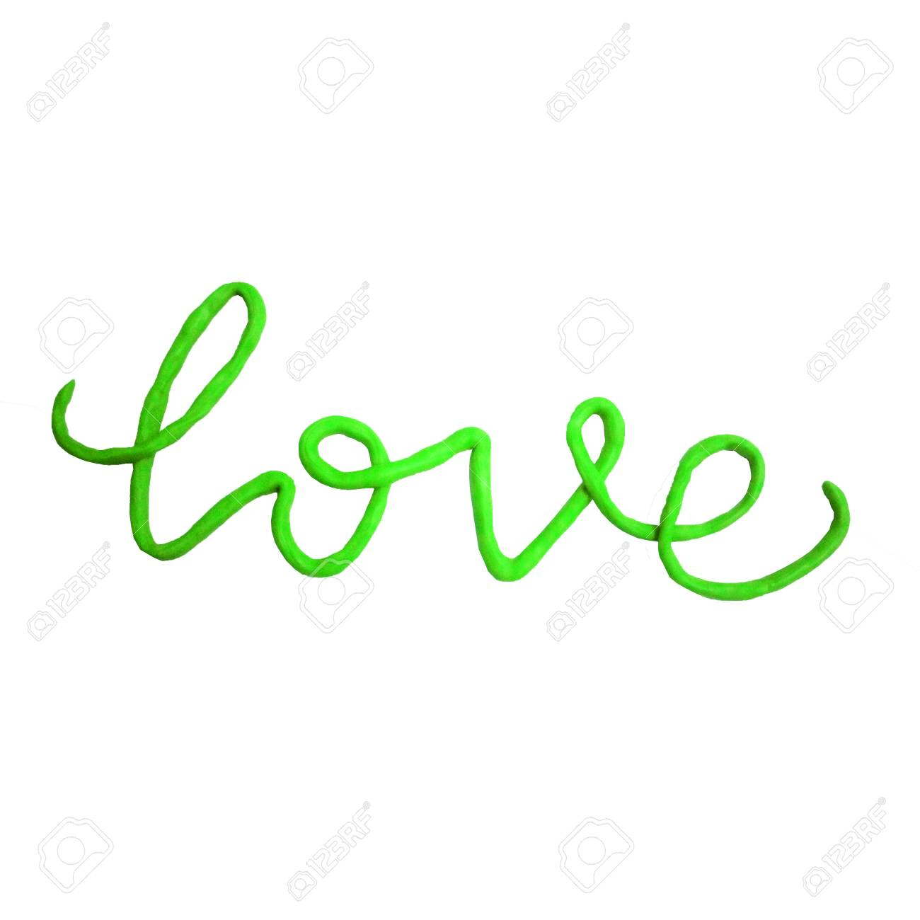 Green Love Plasticine Word Isolated On White Background Clipart