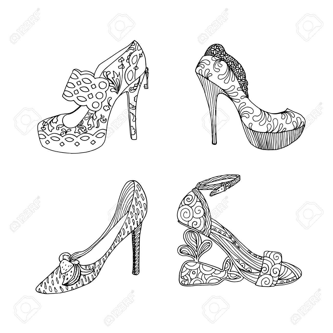 Zapatos De Tacón Alto Para La Mujer Ilustraciones Del Calzado De La Manera En Relleno Negro Del Modelo Del Estilo Aislado Imágenes Prediseñadas