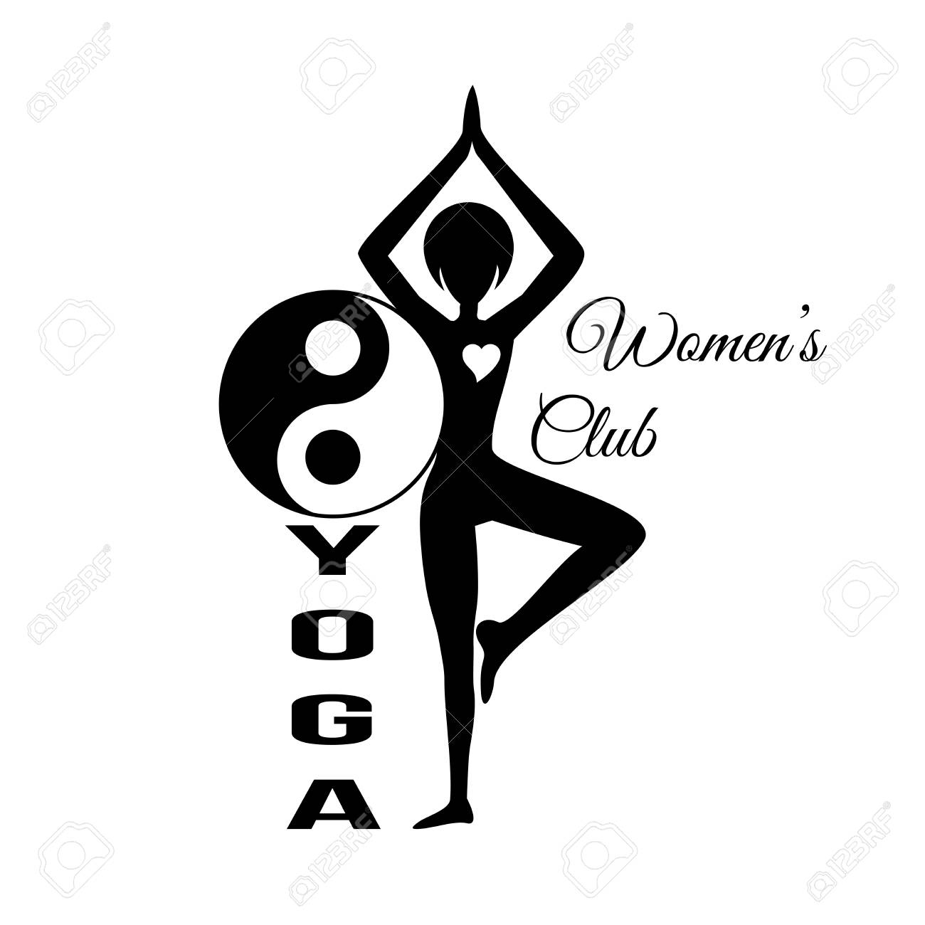 Sport Club Logo Design Template With Woman Silhouette In Pose And Om Yoga Sign Isolated