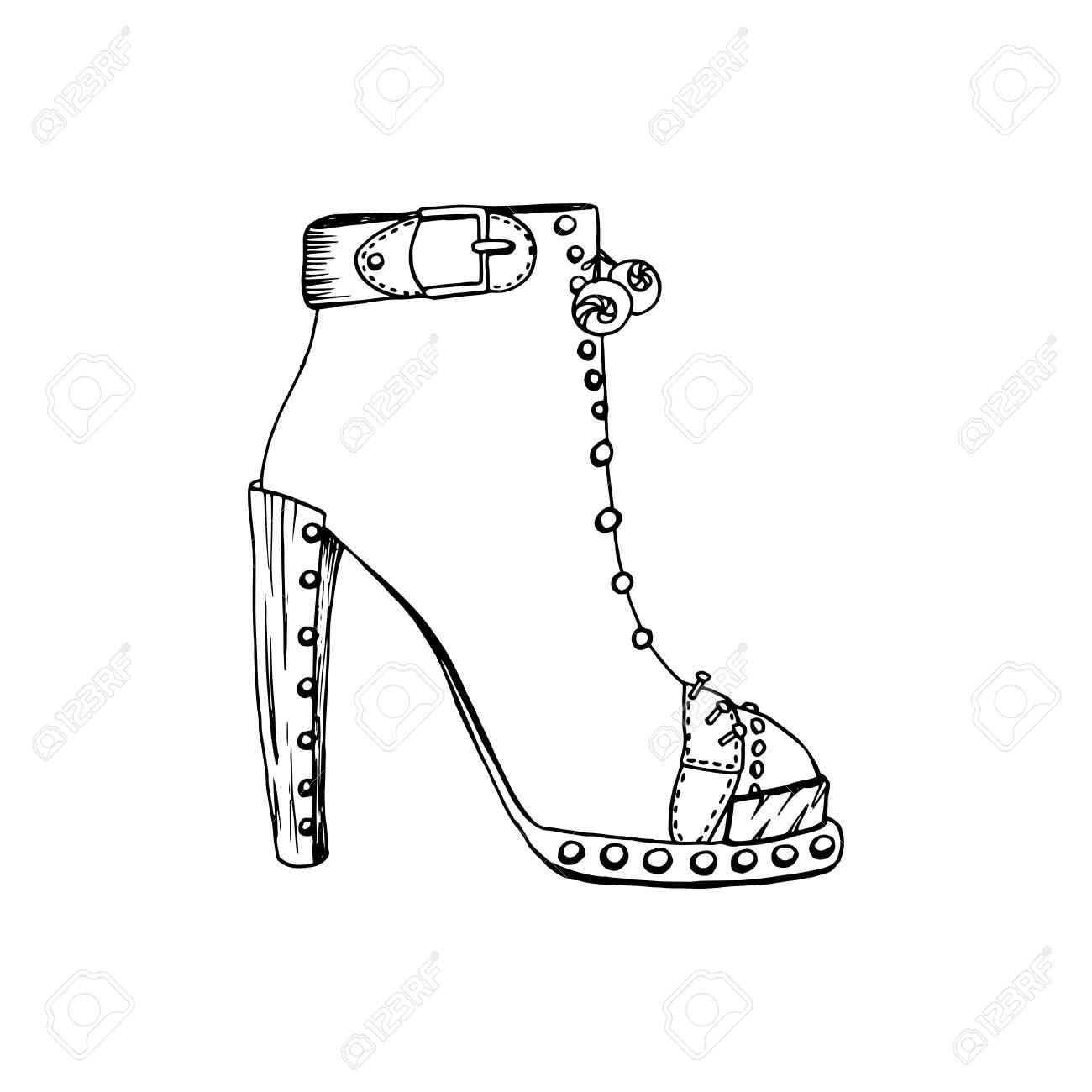 28c4faf02fa Foto de archivo - Zapatos de tacón alto para mujer. Moda obra calzado.  clipart aislada por las páginas del libro para colorear diseño