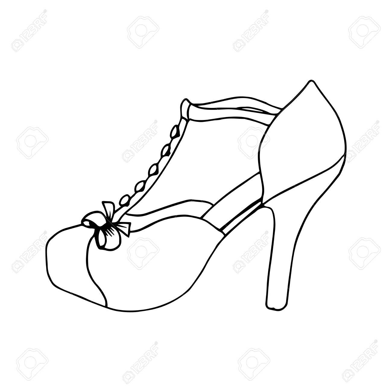 Zapatos De Tacón Alto Para Mujer Moda Obra Calzado Clipart Aislada Por Las Páginas Del Libro Para Colorear Diseño